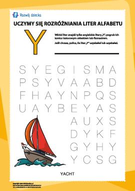 """Alfabet angielski: znajdź literę """"Y"""""""
