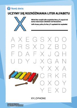 """Alfabet angielski: znajdź literę """"X"""""""