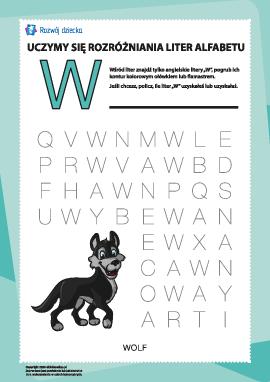 """Alfabet angielski: znajdź literę """"W"""""""