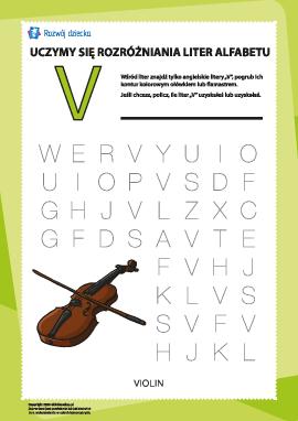 """Alfabet angielski: znajdź literę """"V"""""""