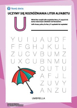 """Alfabet angielski: znajdź literę """"U"""""""