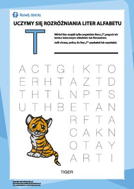 """Alfabet angielski: znajdź literę """"T"""""""