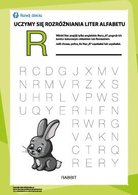 """Alfabet angielski: znajdź literę """"R"""""""
