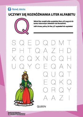 """Alfabet angielski: znajdź literę """"Q"""""""