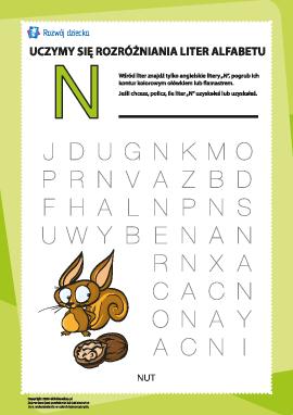"""Alfabet angielski: znajdź literę """"N"""""""