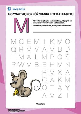 """Alfabet angielski: znajdź literę """"M"""""""