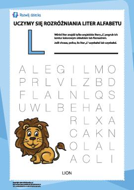 """Alfabet angielski: znajdź literę """"L"""""""
