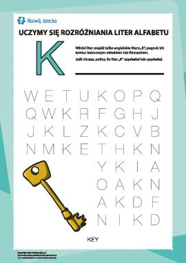 """Alfabet angielski: znajdź literę """"K"""""""