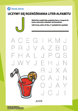 """Alfabet angielski: znajdź literę """"J"""""""