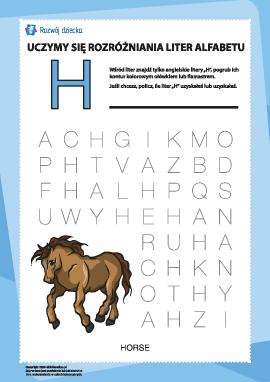 """Alfabet angielski: znajdź literę """"H"""""""