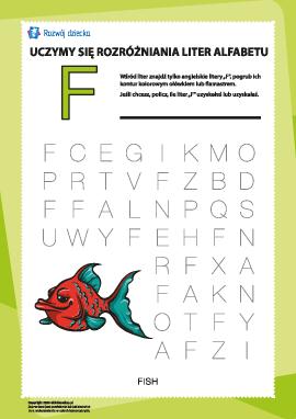 """Alfabet angielski: znajdź literę """"F"""""""