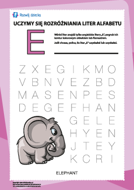 """Alfabet angielski: znajdź literę """"E"""""""