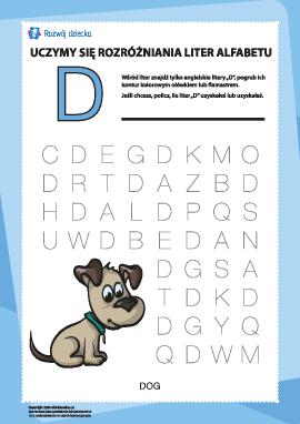 """Alfabet angielski: znajdź literę """"D"""""""