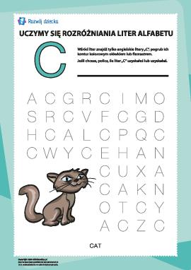 """Alfabet angielski: znajdź literę """"C"""""""