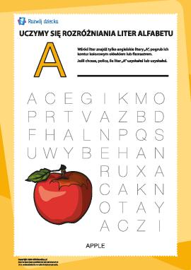 """Alfabet angielski: znajdź literę """"A"""""""