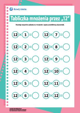 """Tabliczka mnożenia liczba """"12"""""""