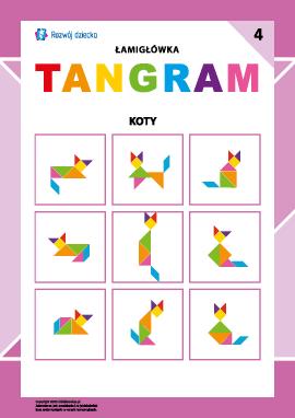 "Łamigłówka ""Tangram"" nr 4: koty"