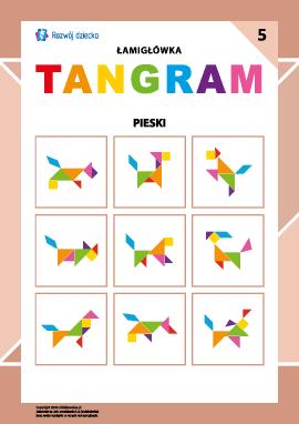 """Łamigłówka """"Tangram"""" nr 5: pieski"""