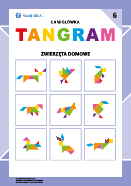 """Łamigłówka """"Tangram"""" nr 6: zwierzęta domowe"""