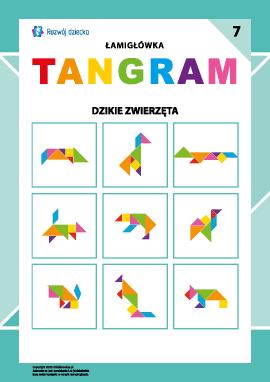 """Łamigłówka """"Tangram"""" nr 7: dzikie zwierzęta"""