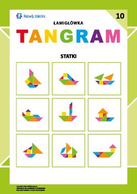 """Łamigłówka """"Tangram"""" nr 10: statki"""