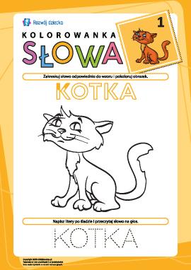 """Kolorowanka """"Słowa"""" nr 1 (kotka)"""