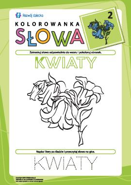 """Kolorowanka """"Słowa"""" nr 2 (kwiaty)"""