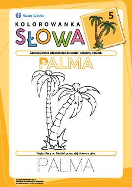 """Kolorowanka """"Słowa"""" nr 5 (palma)"""