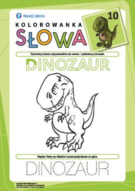 """Kolorowanka """"Słowa"""" nr 10 (dinozaur)"""