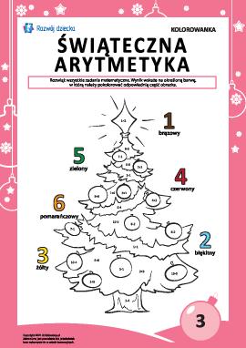 """Kolorowanka """"Arytmetyka noworoczna"""" nr3"""