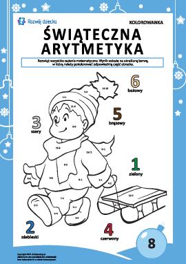 """Kolorowanka """"Arytmetyka noworoczna"""" nr8"""