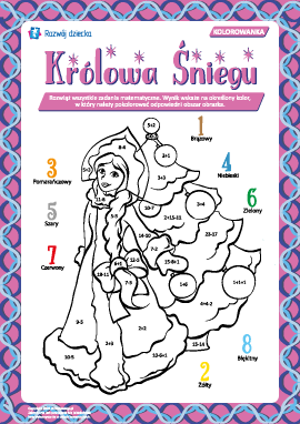 """Kolorowanka arytmetyczna """"Królowa Śniegu"""""""