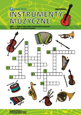 """Krzyżówka ilustrowana """"Instrumenty muzyczne"""""""