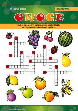 """Krzyżówka w obrazkach """"Owoce oraz jagody"""""""