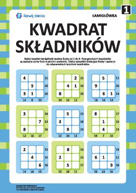 """Łamigłówka """"Kwadrat składników"""" nr 1"""