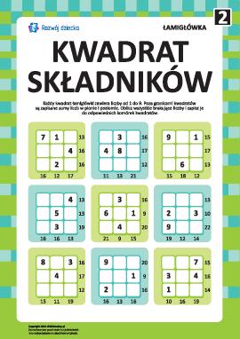 """Łamigłówka """"Kwadrat składników"""" nr 2"""