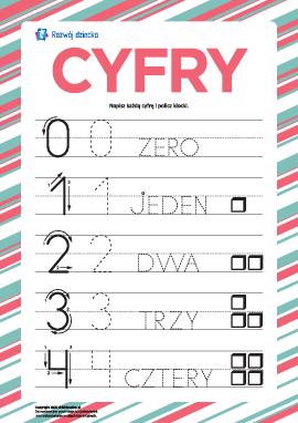 """""""Cyfry"""": ćwiczymy pisanie po śladzie"""