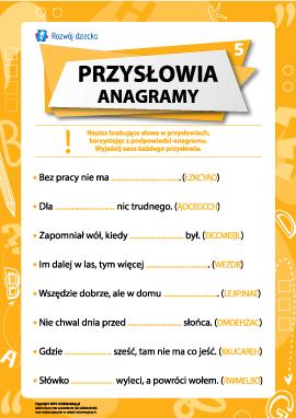Przysłowia i anagramy nr 5 (język polski)