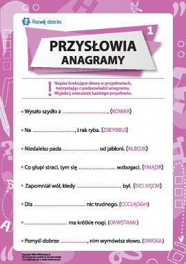Przysłowia oraz anagramy nr 1 (język polski)