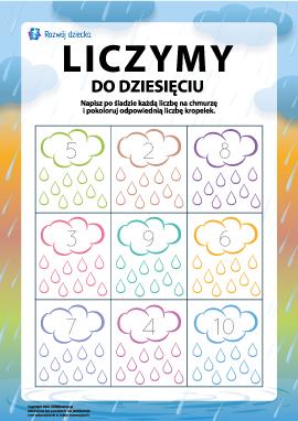 Uczymy się liczenia do dziesięciu: kolorowanka