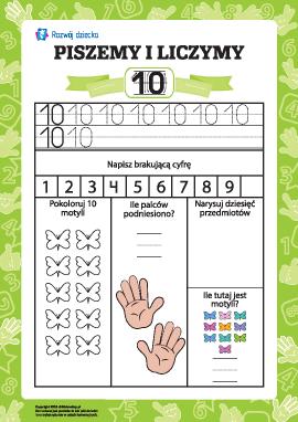 """Piszemy i liczymy: uczymy się liczby """"dziesięć"""""""