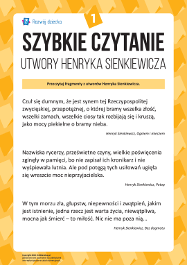 Szybkie czytanie: Utwory Henryka Sienkiewicza nr 1