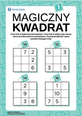 """Łamigłówka """"Magiczny kwadrat"""" nr 1"""