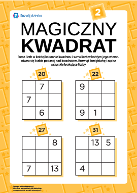 """Łamigłówka """"Magiczny kwadrat"""" nr 2"""