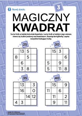 """Łamigłówka """"Magiczny kwadrat"""" nr 3"""