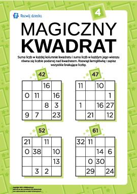"""Łamigłówka """"Magiczny kwadrat"""" nr 4"""