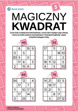 """Łamigłówka """"Magiczny kwadrat"""" nr 5"""