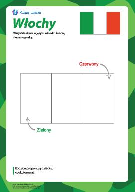 """Kolorowanka """"Flaga Włoch"""""""