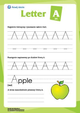 """Alfabet angielski: pisanie litery """"A"""""""