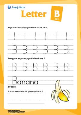 """Alfabet angielski: pisanie litery """"B"""""""